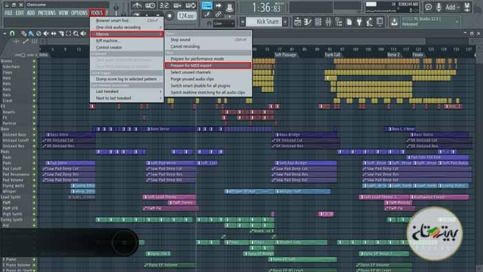خروجی گرفتن به صورت فایل MIDI