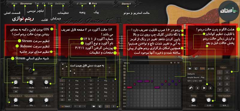 آموزش فارسی وی اس تی Ample Guitar