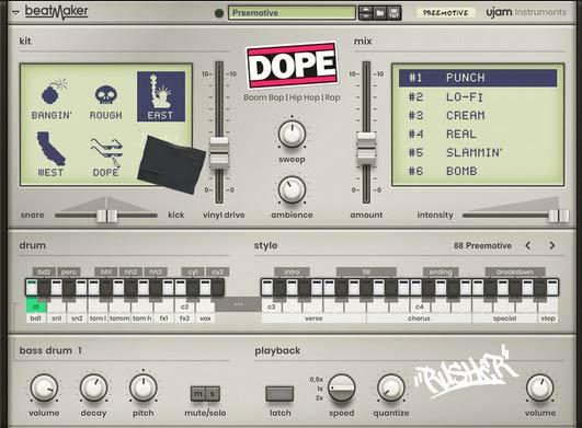 دانلود وی اس تی درام uJAM Beat Maker بخش Dope